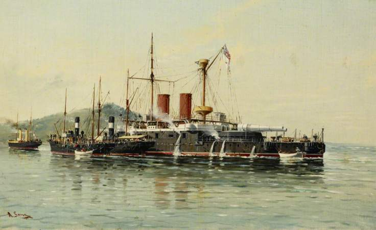 Sanz, Alfonso; HMS 'Howe' being Towed into Emsenanda de la Malata by HMS 'Seahorse' with Salvage Steamers Alongside